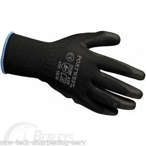 Portwest PU Palm Gloves - Large - Black - A120BKRL - (Pack 12)
