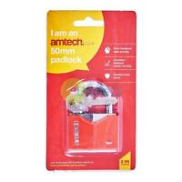 Amtech 50mm Rhombic Chrome Plated Heavy Duty Padlock With 3 Keys Durable Lock