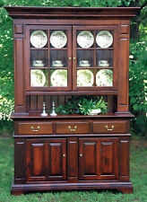 Large Pine China Hutch, Craftsman made, hand carved doors and front panels, New