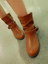 Retro Womens Riding Ankle Boots Round Toe Block Low Heel Buckle Shoes Pull On sz