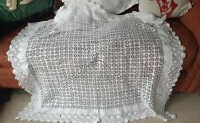 Antique Vintage Irish Needle Lace and Linen Cobweb Lace Tablecloth