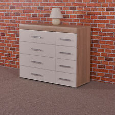 Wide Chest of 4 4 Drawers in White & Sonoma Oak Effect Bedroom Furniture 8 Draw
