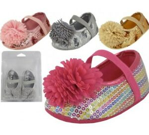 Baby Toddler Sequin Shoes with Bow Pink Silver Gold Rainbow Sizes 2-5 New