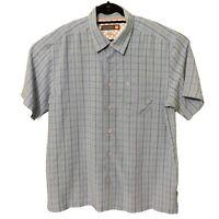 Quiksilver Waterman Collection Blue Plaid Button Down Fishing Shirt Mens Sz XL