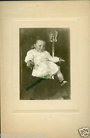 Antique Matted Photo - Cute Young Child Sitting in Wooden Chair