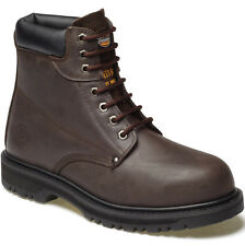 MENS DICKIES CLEVELAND SAFETY BOOTS SIZE UK 10 WORK BROWN LEATHER FA23200