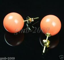 Beautiful Women's Coral Pink 12mm South Sea Shell Pearl 14K GP Stud Earrings