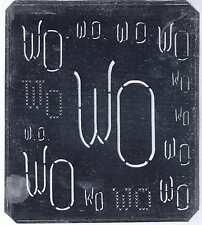 Große Monogramm Schablone  WO Jugendstil Weißblech 15,5 x 18 cm Weissstickerei