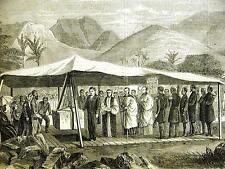 Hawaii Honolulu KING KAMEHAMEHA at NEW BISHOPS CHURCH 1867 Antique Art Matted