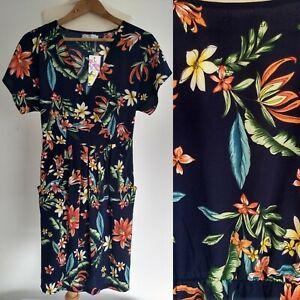 BNWT Shikha Shift Faux Wrap Dress Size S/M Pockets Festival Tropical Navy Orange