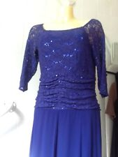 12 Purple Dress Lined Glitter Ruched Top 3/4 Sleeve Scoop Neck by Nighti