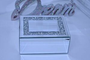 Luxury Crushed Crystal Mirror Box glass Jewellery Box Crushed Border Gift Home