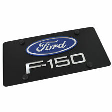 Ford Oval Logo + F-150 Name Badge On Carbon Stainless Steel License Plate