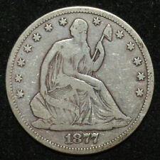1877 CC Seated Liberty Half Dollar VG Carson City Old West 50c Silver Coin
