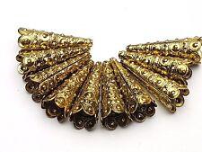 10 X Metallperle Perlenkappen lang Tibet gold
