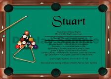 Unique First Name Meaning Certificate Billiards (8 ball)  - Gifts, Birthdays