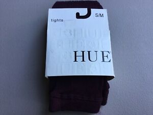 NWT Women's Hue Silky Rib Sweater Tights Size S/M Deep Burgundy #1046G