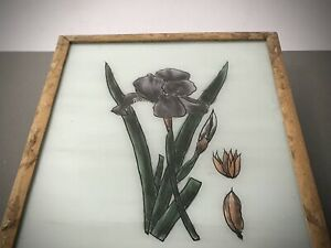 VINTAGE INDIAN REVERSE GLASS PAINTING. BLACK IRIS IN AUTHENTIC ART DECO FRAME.