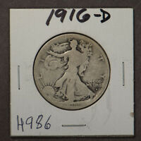 1916-D 50c WALKING LIBERTY HALF DOLLAR LOT#H986