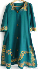 Vtg Hand Made Lounge Dress Size L/XL 3/4 Sleeve Embroidered A-line