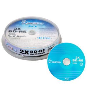 10 Pack Smartbuy 2x 25GB Blue Blu-ray BD-RE Rewritable Branded Logo Blank Disc