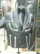 Men's Real Lambskin leather Blazer coat with white Piping and Leather Fringe