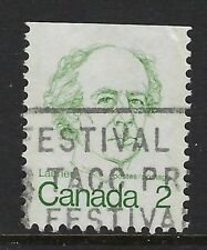 Scott 587viii: 2c Laurier Caricature with two vertical tag lines ex. booklet, VF