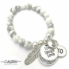 Howlite Marble Bracelet With Live Laugh Love Xoxo Dream Angel Feather Tree Charm