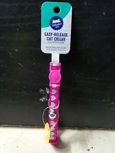 Whisker City Easy-Release Pink Reflective With Hearts Cat 😻 Collar