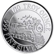 Steam Train Locomotive 1/10 Oz Silver By Monarch Precious Metals 999 Fine