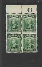 SARAWAK, KGV1 1945 BMA ISSUE, 3c SG 128, SHEET NO MNH BLOCK 4,