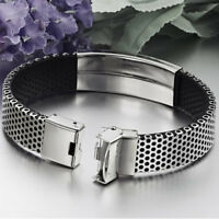 Charm Mens Fashion Stainless Steel Black Leather Cuff Bangle Wristband Bracelet