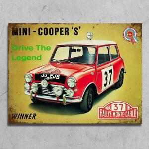 Metal Signs plaques retro style Mini Cooper S classic car garage mancave grungy