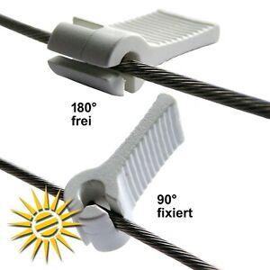 6 x Klemmhaken Laufhaken Stopper für 2 mm Edelstahlseil für Seilspannmarkise
