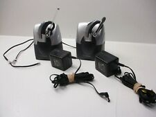 LOT OF 2 PLANTRONICS HEADSETS & BASES: CS70VT & VOYAGER 500A (1 EA) w/ AC adapt