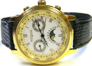 mens Longines Wittnauer Moonphase World Time Calendar Day Date Gold Plated watch