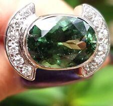 Modern 5.5CTW Green Tourmaline Diamond 14k white gold ring/band