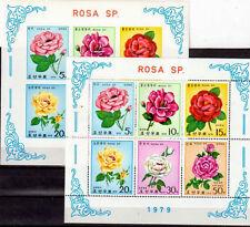 FLEUR ROSE Corée 2 blocs D et ND de 1979 ** - FLOWER BLUME FIORE KULTURROSEN