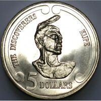 New Zealand  -1992- BU $5 UNC Coin -  Kupe Maori