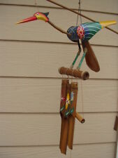 Large Bobbing Head Bird Painted Body and Tail Bamboo Wind Chimes FREE SHIP