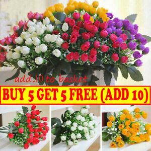 36HEADS ARTIFICIAL SILK FLOWERS BUNCH Wedding Home Grave Xmas Outdoor Bouquet UK