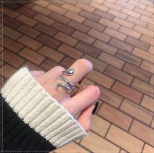 Vintage Snake Shape Adjustable Ring 925 Sterling Silver Womens Ladies Gift Uk