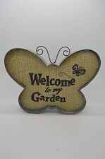 Rustic Metal Butterfly Hanging Sign Welcome To My Garden #11