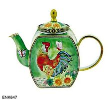 KELVIN CHEN Enamel Mini Copper Handpainted Teapot -  Rooster & Sunflower