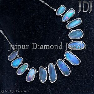 Opal Gemstone 925 Sterling Silver Natural Diamond Pave Necklace Handmade Jewelry