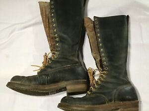 """RARE Vintage Early RED WING'S 17"""" High BOOTS Outdoor Work Shoes Lineman Mens 9 C"""