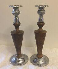 PAIR of vintage ART DECO STYLE CANDLESTICKS in WOOD & SILVER METAL 27cm