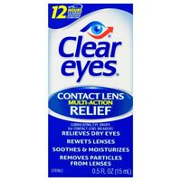 Clear Eyes Contact Lens Multi-Action Relief Lot Of 6 0.5 FL OZ EXP:02/21 and up