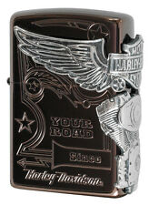 Zippo Oil Lighter New Model Harley Davidson Japan HDP-49 Titanium Brown Silver