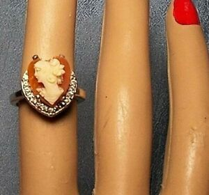 CAMEO Heart RING Sterling Silver Ring, Size 6, Rhinestone Vintage Small Heart Sh